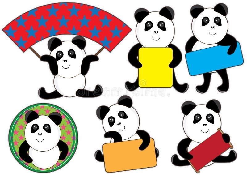 Le petit espace Set_eps de carte de panda illustration stock