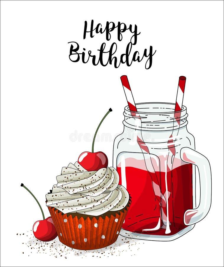 Le petit gâteau avec de la crème et la cerise blanches et le verre cognent avec la boisson et la paille rouges sur le fond blanc, illustration libre de droits