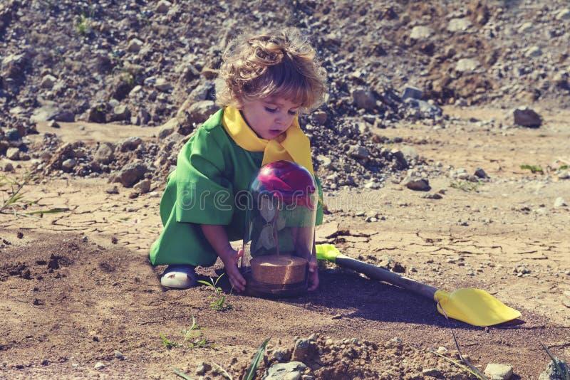 Le petit garçon blond d'enfant en bas âge tenant le rouge artificiel s'est levé avec le petit concept de prince de couvercle en v photographie stock