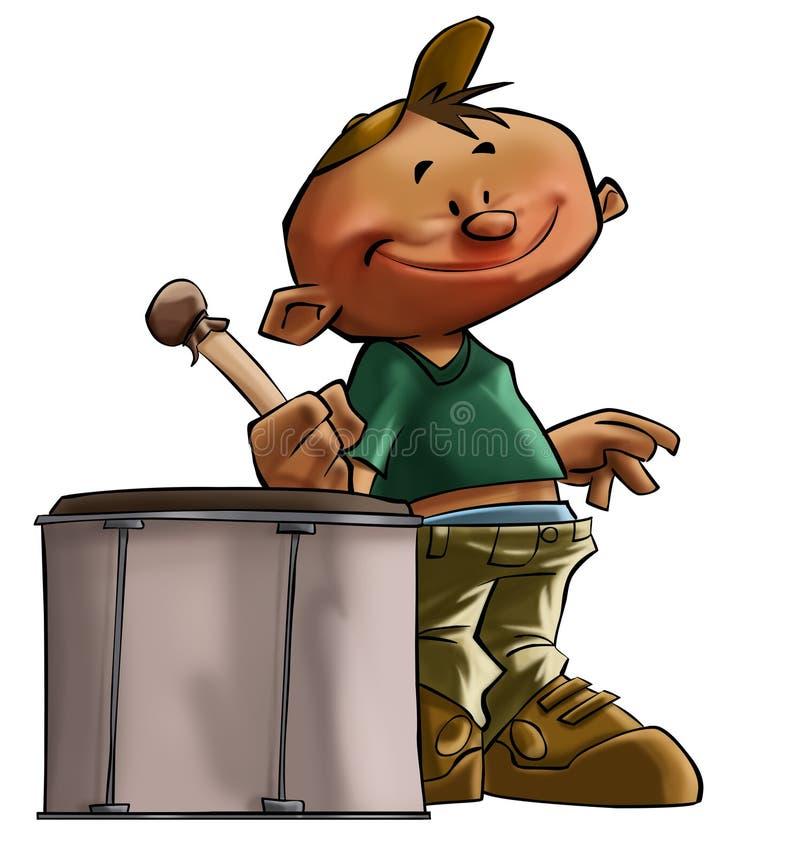 Le petit garçon de batteur illustration de vecteur