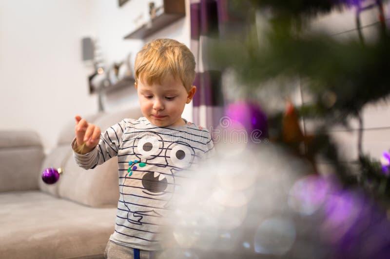 Le petit garçon heureux décorent l'arbre de Noël images libres de droits