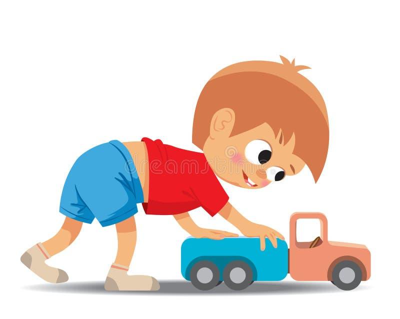le petit gar on joue la voiture de jouet illustration de vecteur illustration du enfantin. Black Bedroom Furniture Sets. Home Design Ideas