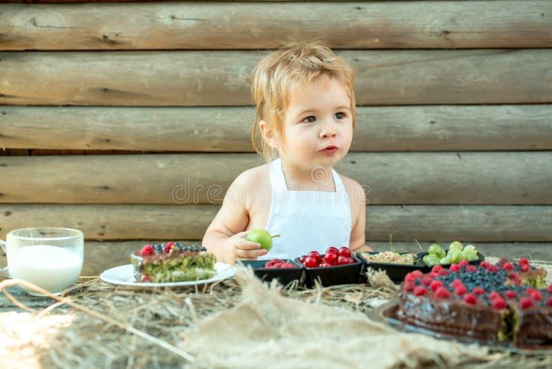 Le petit garçon mange la pomme verte images libres de droits