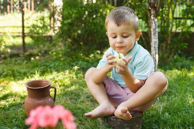 Le petit garçon mange la pomme verte se reposant sur un tronçon d'arbre Petit garçon actif mangeant la pomme verte image libre de droits