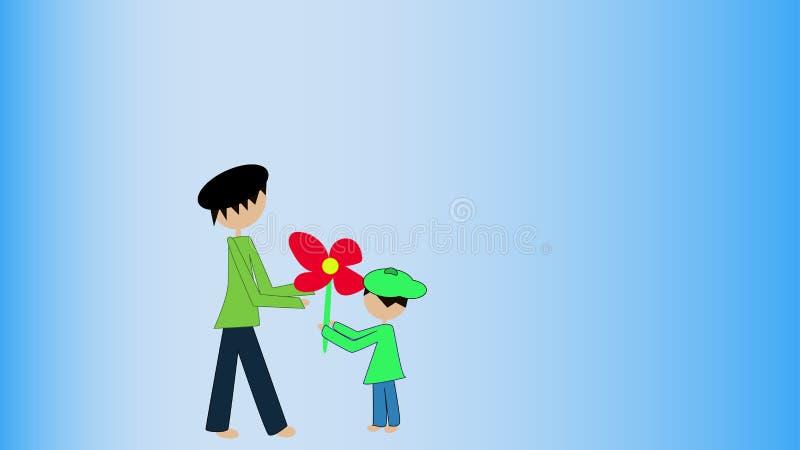 Le petit garçon mignon donne une fleur comme présent à son père illustration libre de droits