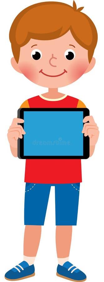 Le petit garçon mignon heureux dans la pleine croissance tient un comprimé d'ordinateur illustration stock