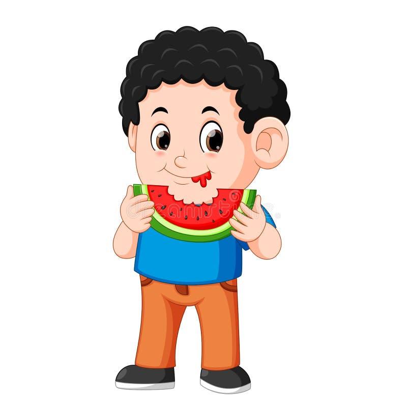Le petit garçon mignon mange la pastèque, illustration de vecteur