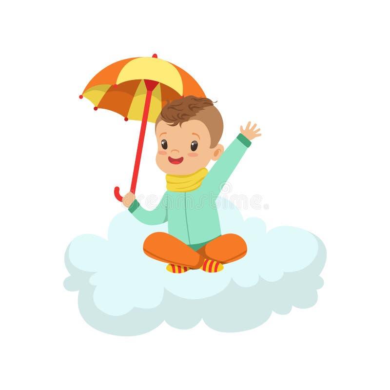 Le petit garçon mignon s'asseyant sur le nuage sous le parapluie, les enfants imagination et les rêves dirigent l'illustration illustration de vecteur