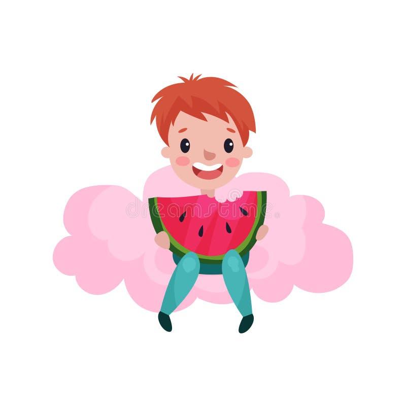 Le petit garçon mignon s'asseyant sur un nuage rose et mangeant la pastèque, enfant fantasme et rêve l'illustration de bande dess illustration stock
