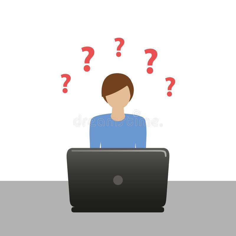Le petit garçon sur l'ordinateur portable a beaucoup question illustration stock