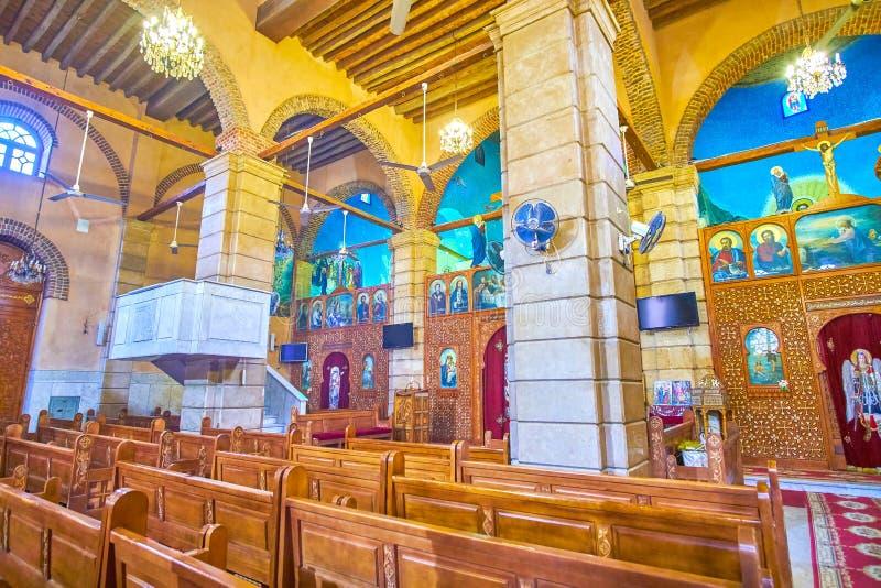 Le petit hall de prière de St copte George Church au Caire, Egypte image stock