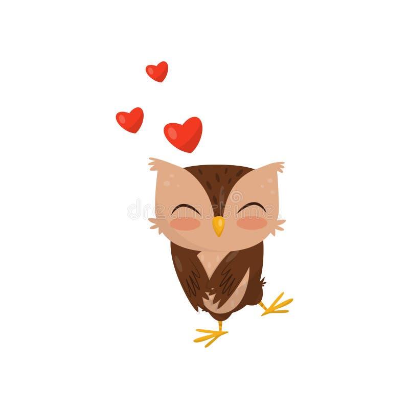 Le petit jeune hibou doux dans l'amour, personnage de dessin animé mignon d'oiseau avec les coeurs rouges dirigent l'illustration illustration de vecteur