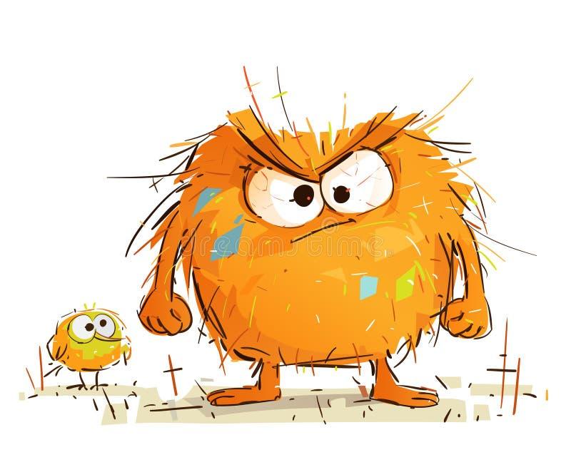 Le petit monstre mignon est très fou illustration de vecteur