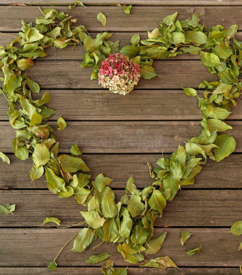Le petit morceau de Heartframe le vieux plancher et feuilles d'automne en bois tombent et des fleurs photos libres de droits