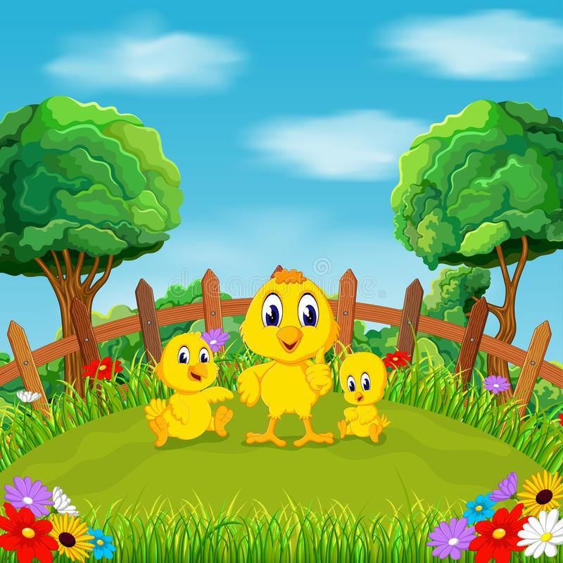 Le petit poulet jaune jouant avec leur ami autour des fleurs dans le domaine illustration libre de droits