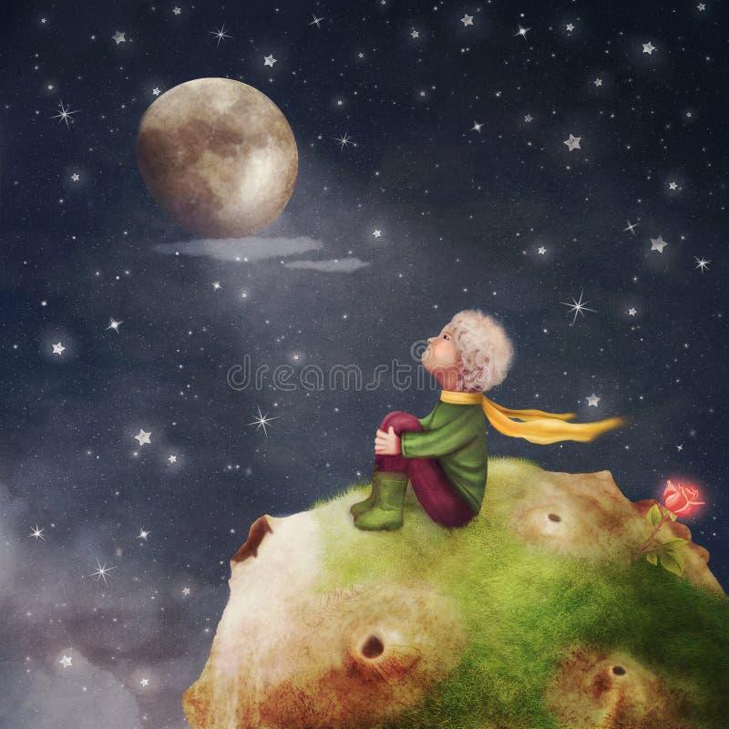 Le petit prince avec une rose sur une planète en beau ciel nocturne illustration de vecteur