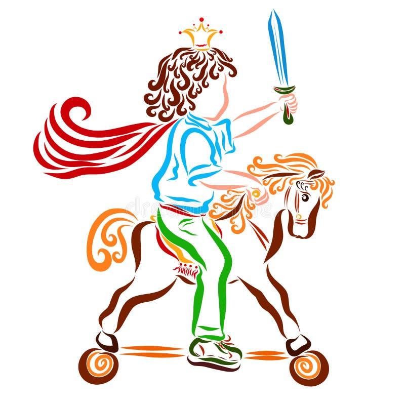 Le petit prince est un conquérant avec une épée dans sa main, un jouet illustration libre de droits