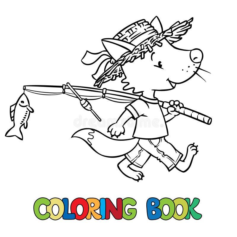 Le petit renard drôle vont pêcher Livre de coloration illustration libre de droits