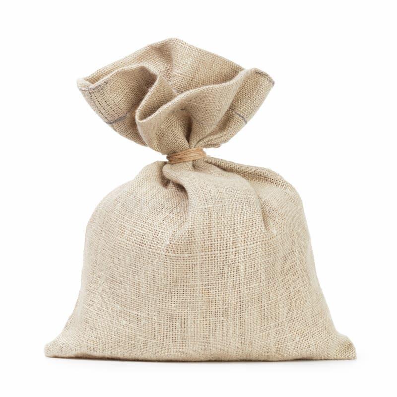 Le petit sac de sac complètement de quelque chose aiment l'argent photo stock