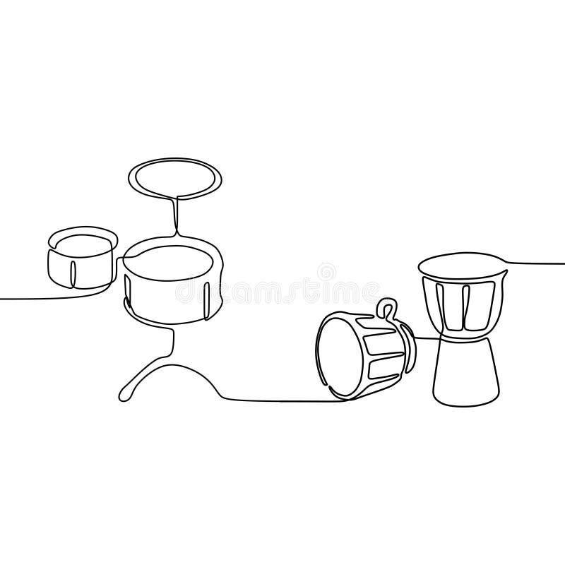 le petit tambour et la ligne africaine ligne continue instruments de musique traditionnels de la percussion une dirigent l'ensemb illustration libre de droits