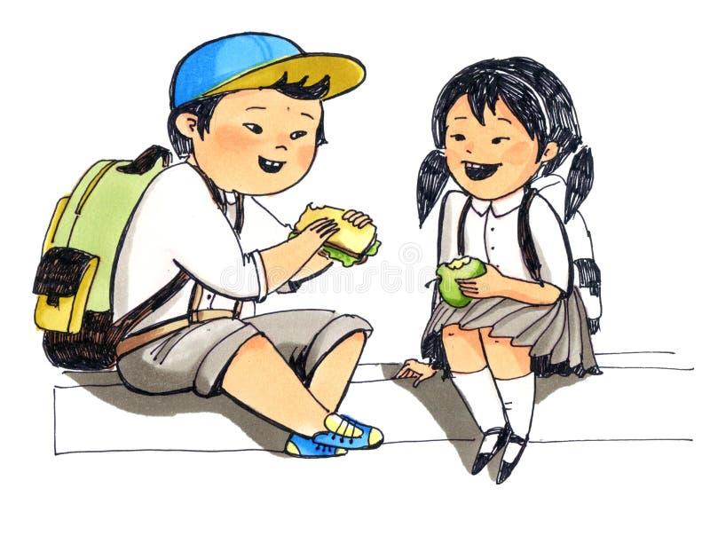 Le petits garçon et fille japonais s'asseyent à la frontière illustration stock