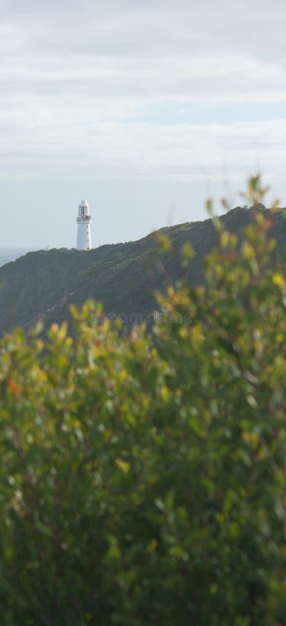 Le phare d'Otway de cap vu bien que les arbres à la grande route d'océan en Australie images libres de droits