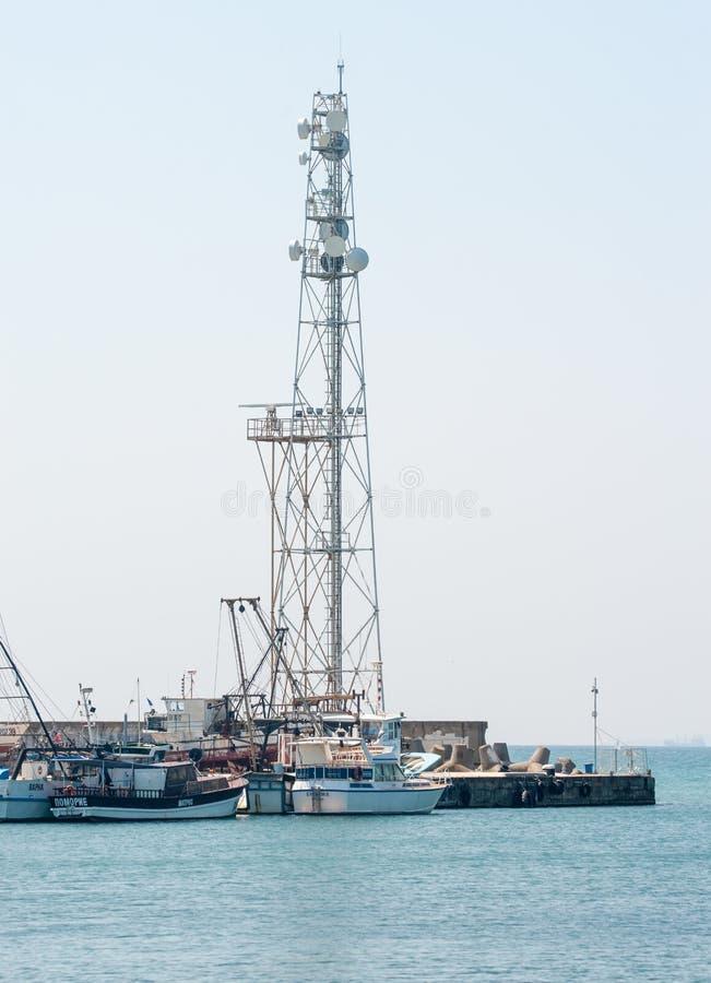 Le phare dans Pomorie en Bulgarie photos stock