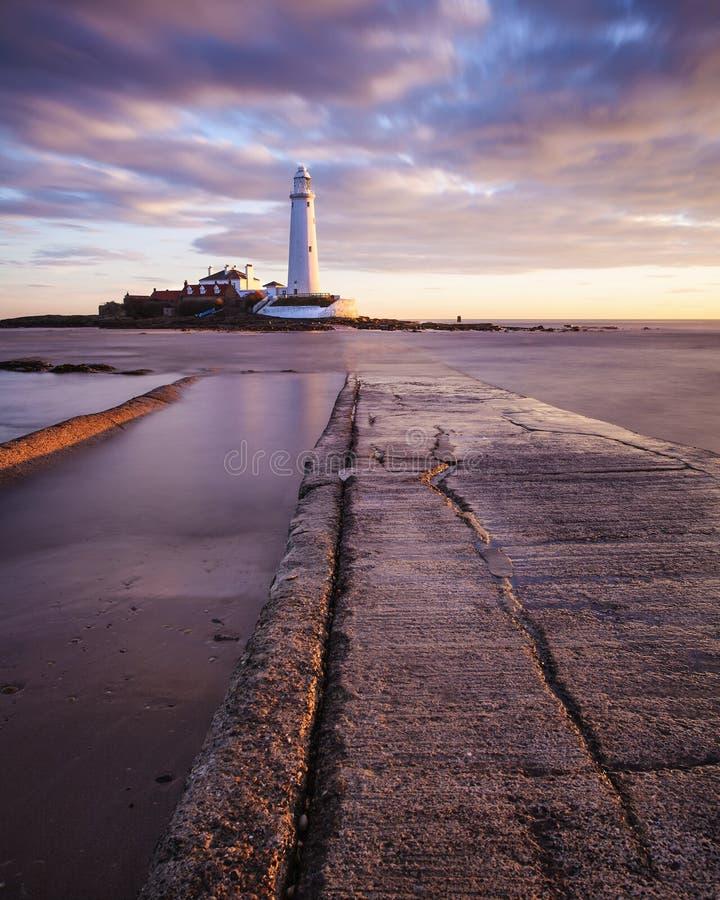 Le phare de St Mary - Whitley Bay images libres de droits