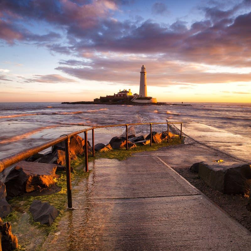 Le phare de St Mary - Whitley Bay photo libre de droits