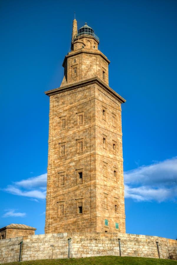 Le phare romain connu sous le nom de tour de Hercule photographie stock libre de droits