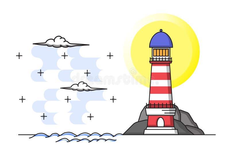 Le phare situé le long de la mer, avec le ciel et les nuages sur le Blackground blanc Illustration plate de vecteur de style de c photos stock