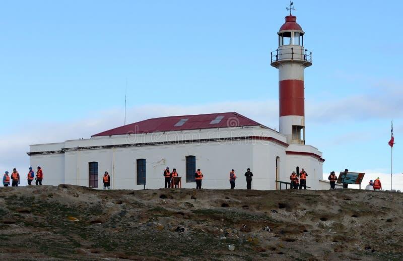 Le phare sur l'île de Magdalena photographie stock