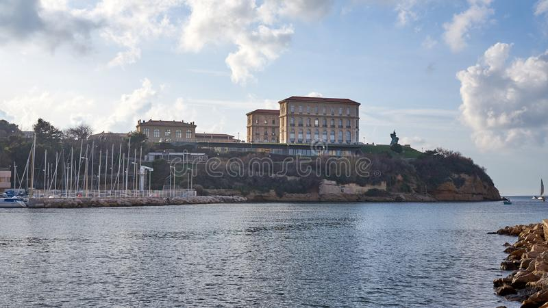 Le Pharo Taken de Habour viejo Marsella imagen de archivo libre de regalías