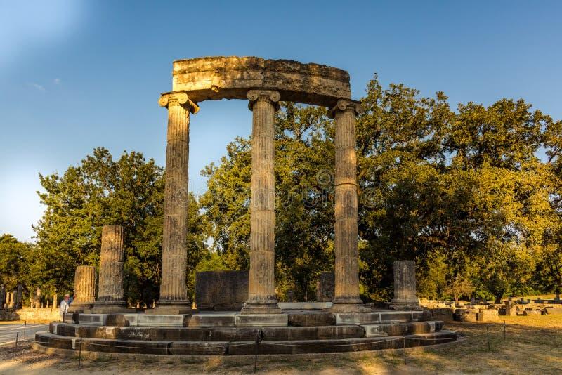 Le Philippeion dans l'Altis d'Olympia image libre de droits