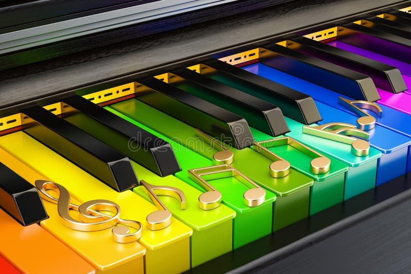 Le piano a coloré le clavier avec des notes de musique, concept de musique rende 3D illustration libre de droits