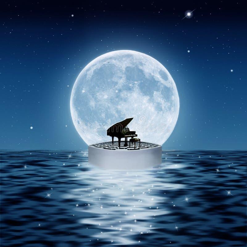 Le piano et la lune illustration libre de droits