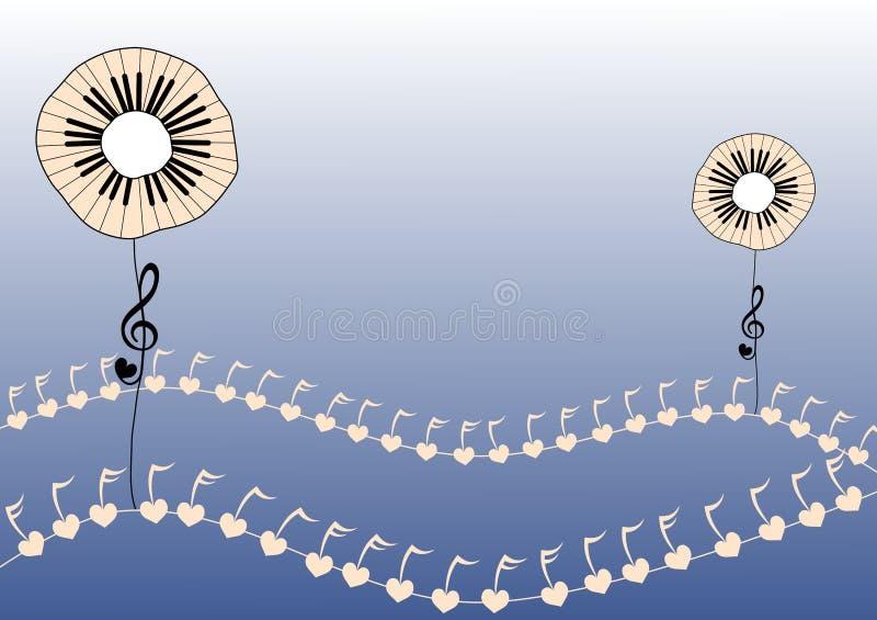 Le piano introduit des fleurs illustration de vecteur
