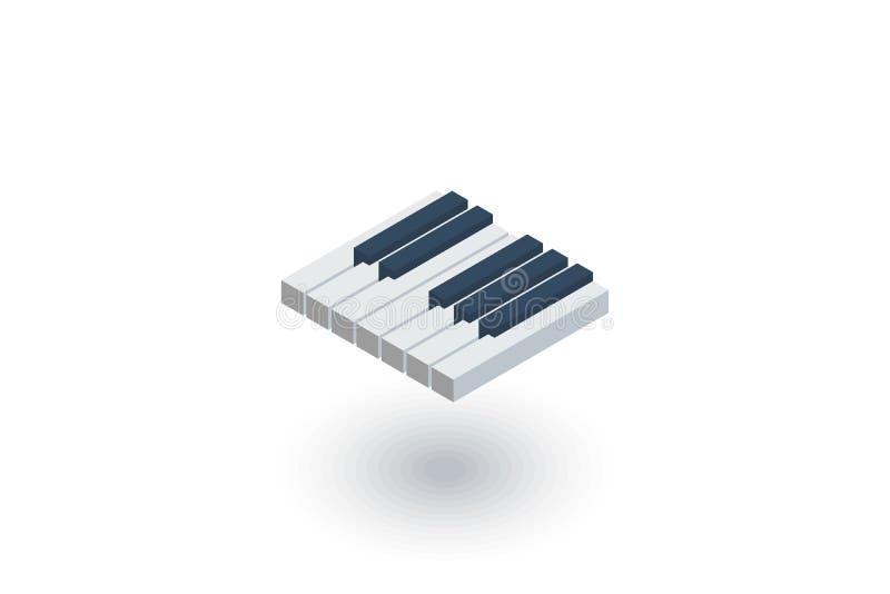 Le piano verrouille l'icône plate isométrique vecteur 3d illustration libre de droits