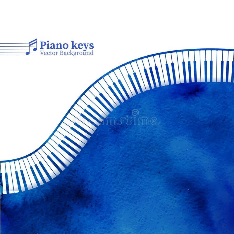Le piano verrouille le fond d'aquarelle illustration libre de droits