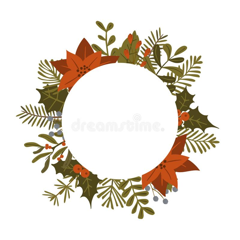 Le piante del fogliame dell'inverno di Natale, fiori della stella di Natale lascia i rami, bacche rosse circondano il modello rot royalty illustrazione gratis