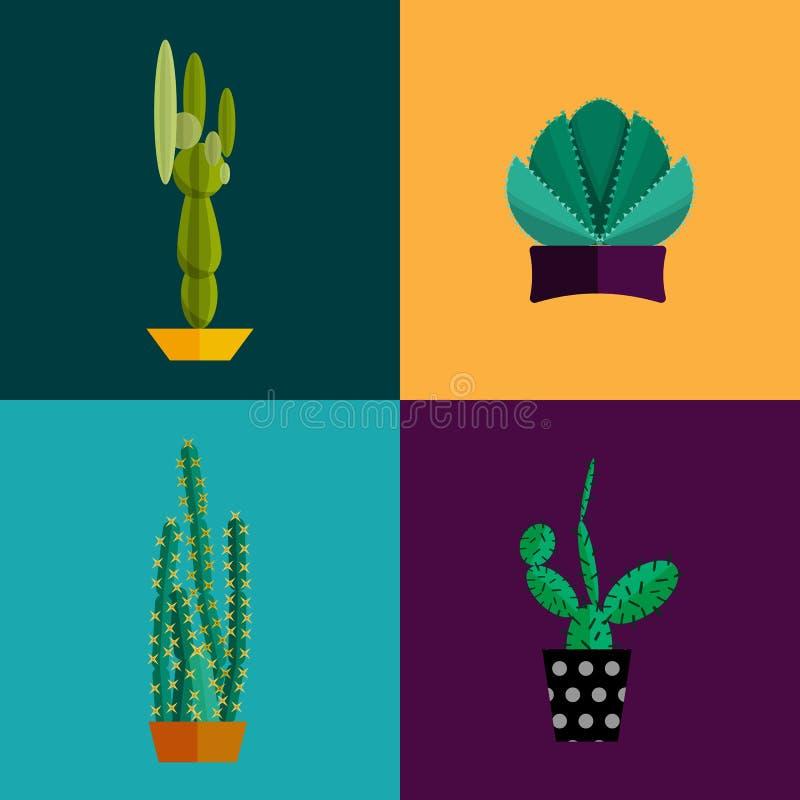 Le piante tropicali, vettore del cactus hanno messo nello stile piano royalty illustrazione gratis