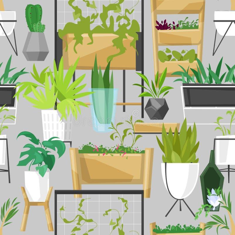 Le piante in vasi da fiori vector l'aloe botanico dell'interno dei cactus delle piante da appartamento conservate in vaso per la  royalty illustrazione gratis
