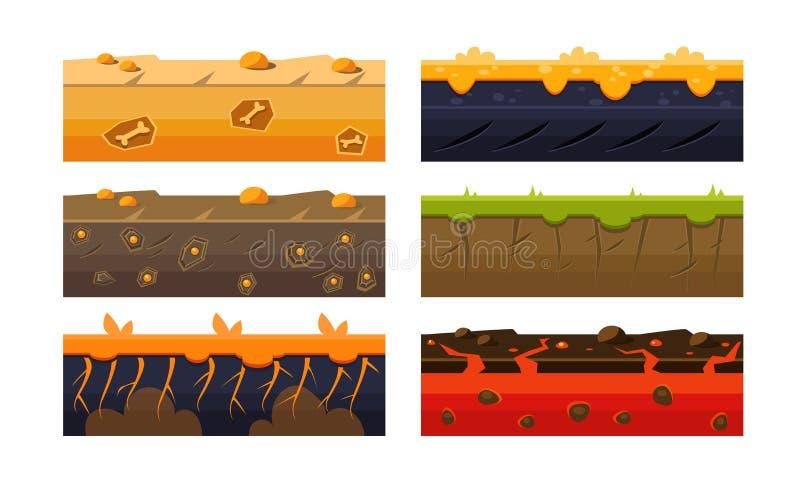 Le piattaforme di fantasia hanno messo, strati del suolo per il cellulare o illustrazione di vettore di Iinterface dell'utente de illustrazione di stock