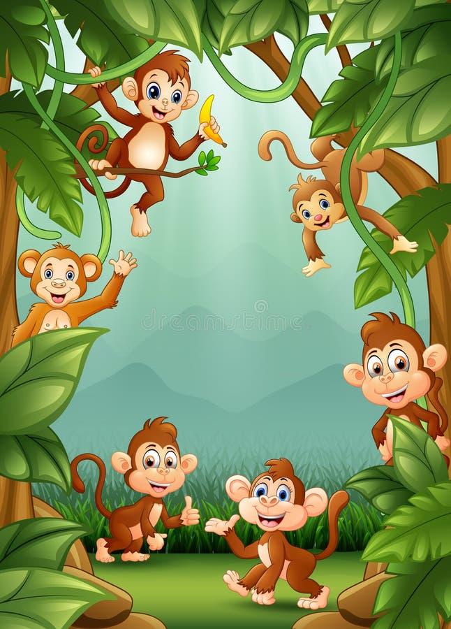 Le piccole scimmie felici in giungla illustrazione di stock