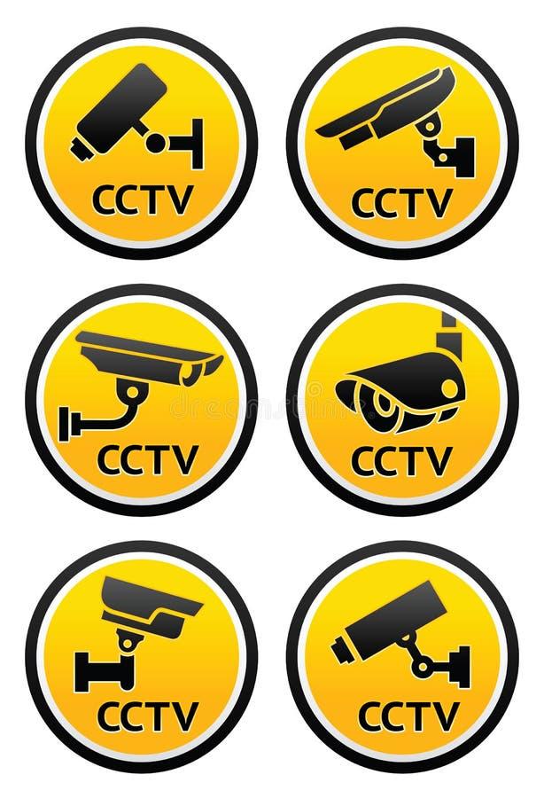 Le pictogramme de caméra de sécurité, a placé les signes ronds de télévision en circuit fermé illustration stock