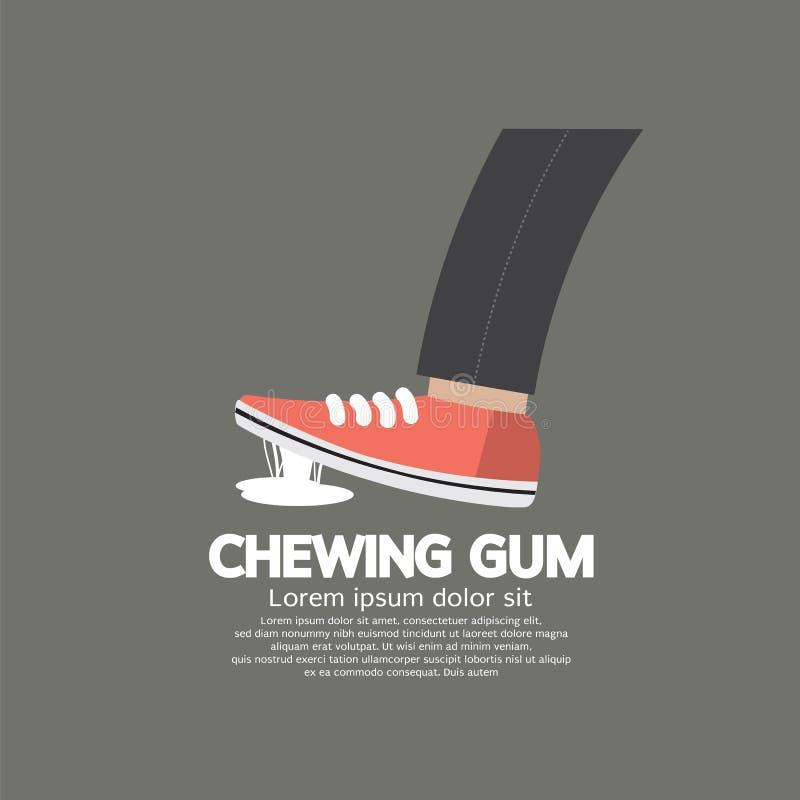 Le pied a collé dans le chewing-gum sur la rue illustration libre de droits