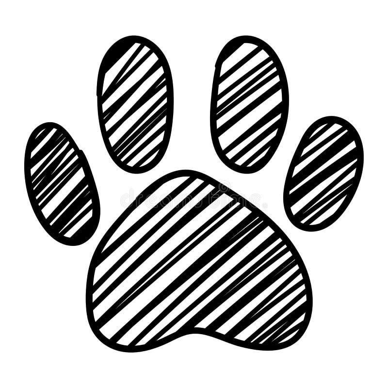 Le pied noir et blanc monochrome de patte d'animal de compagnie de chat de chien a isolé le vecteur tiré par la main d'art de cro illustration de vecteur