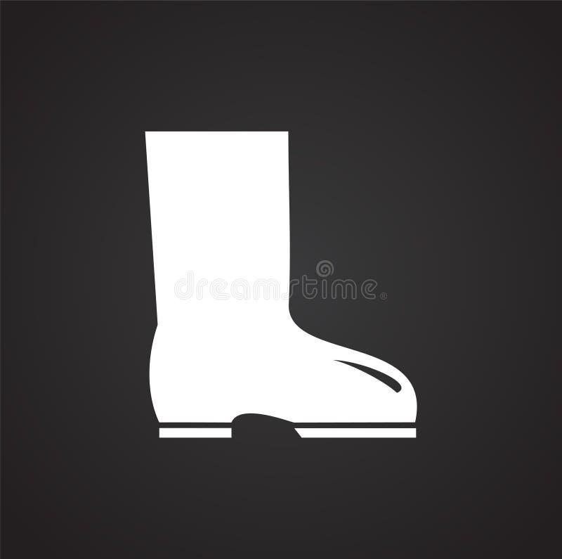Le pied portent la protection sur le fond noir illustration de vecteur