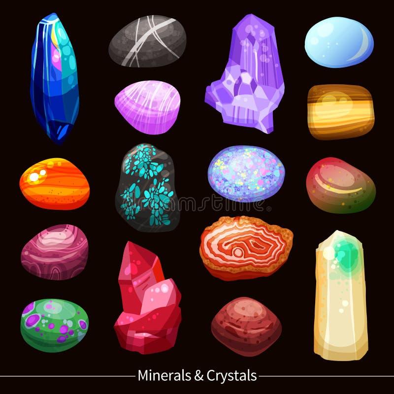 Le pietre e le rocce dei cristalli hanno messo il fondo illustrazione di stock