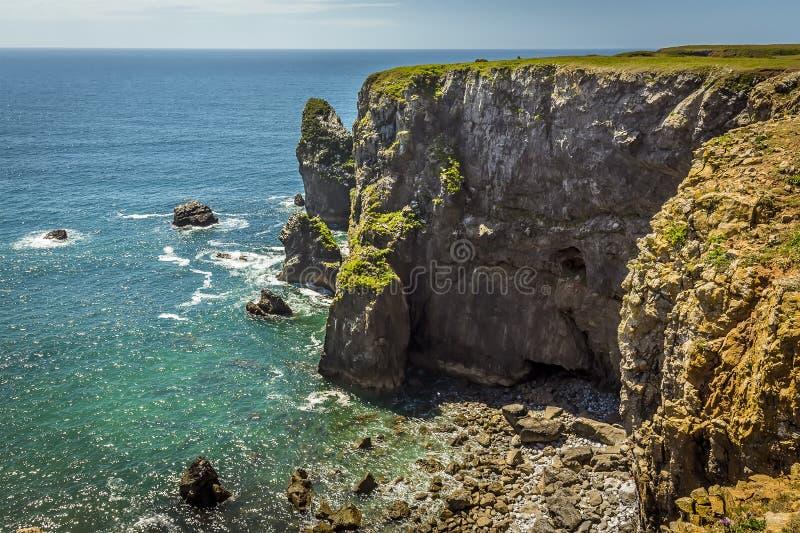 Le pile della roccia lungo il Pembrokeshire costeggiano, Galles di estate fotografia stock libera da diritti